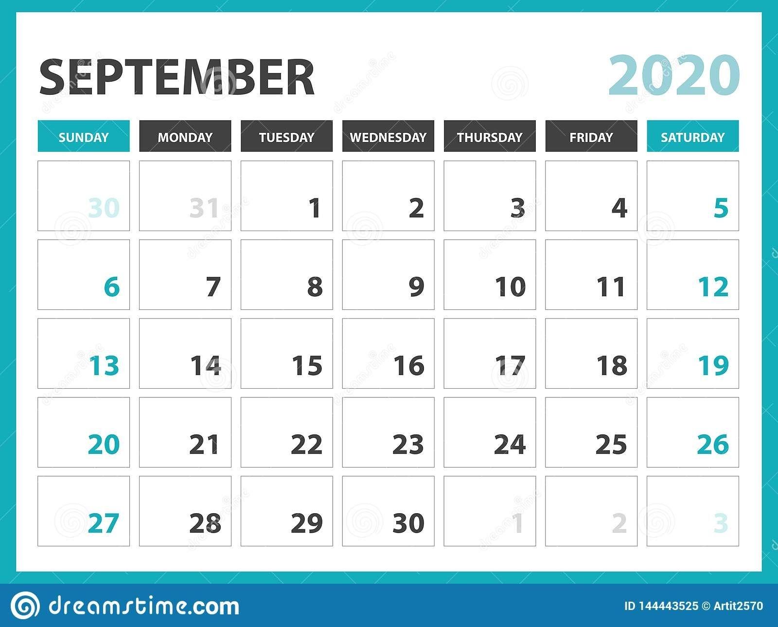 desk calendar layout size 8 x 6 inch, september 2020