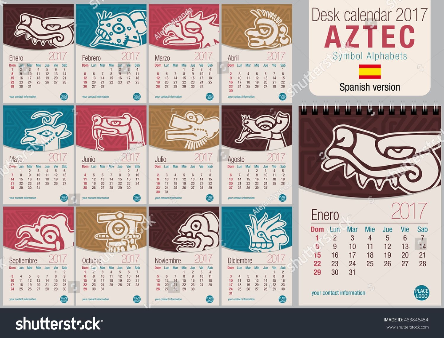 Desk Triangle Calendar 2017 Template Aztec Stock Vector