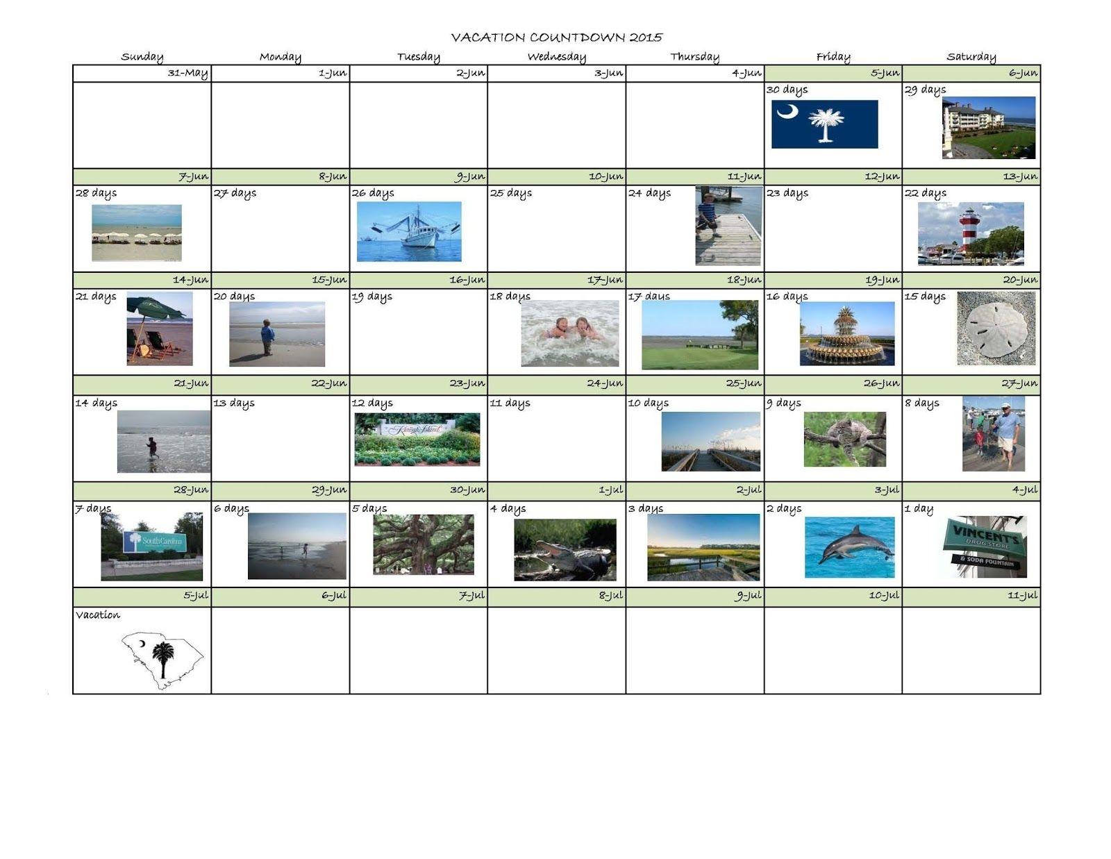 Destination: Kiawah Island: Diy Vacation Countdown Calendar