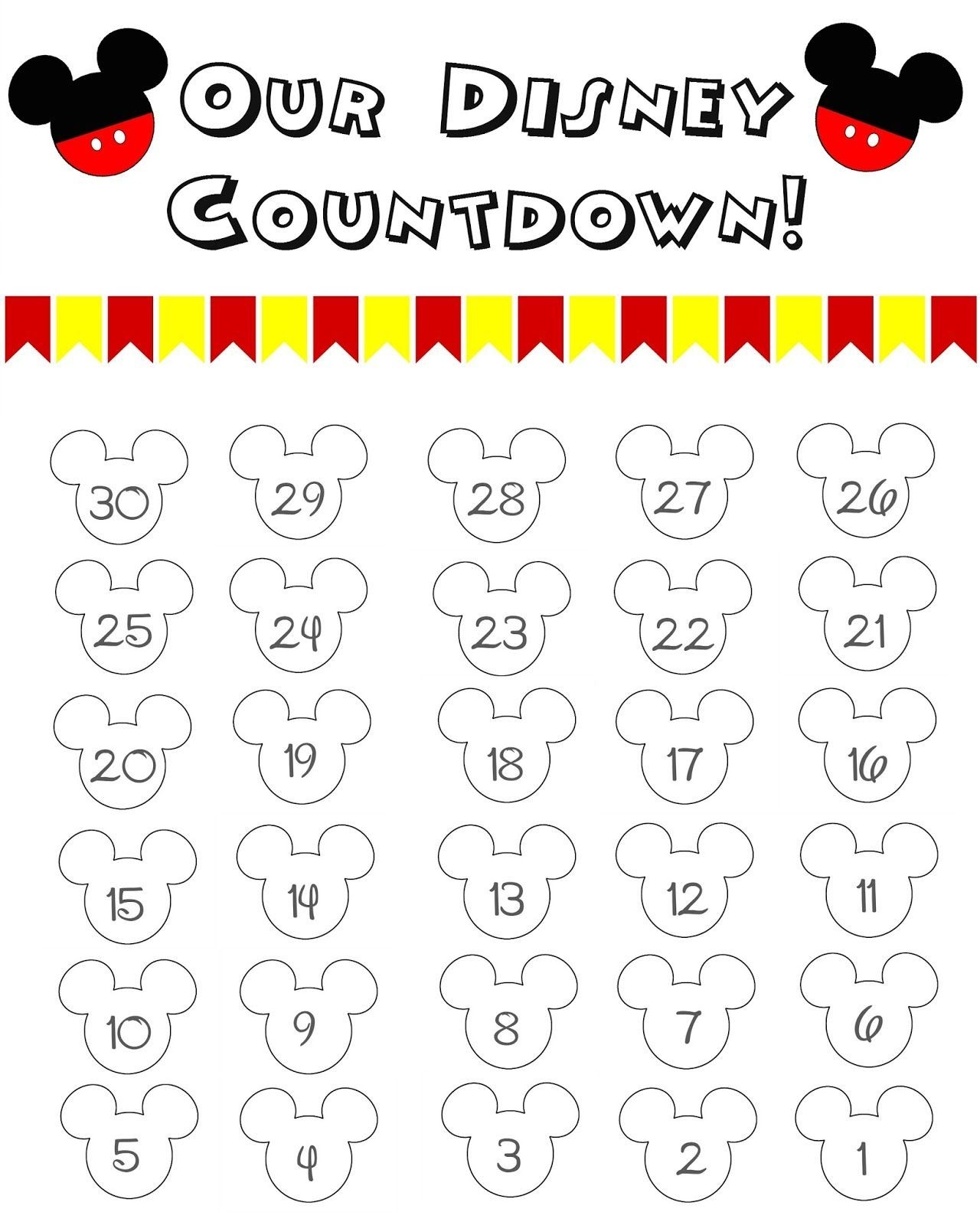 disney world countdown calendar free printable!! the