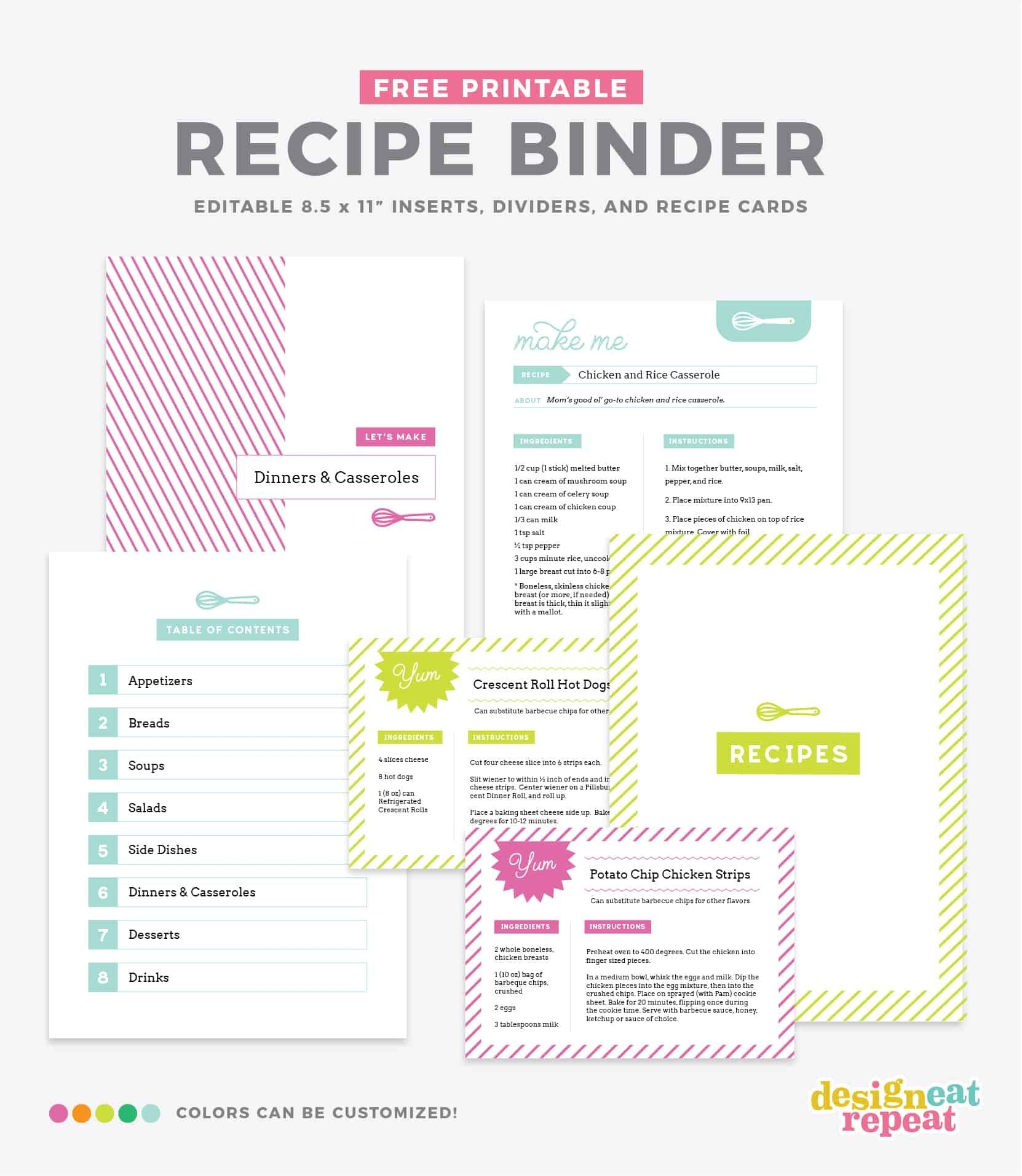 Diy Recipe Book (with Free Printable Recipe Binder Kit!)
