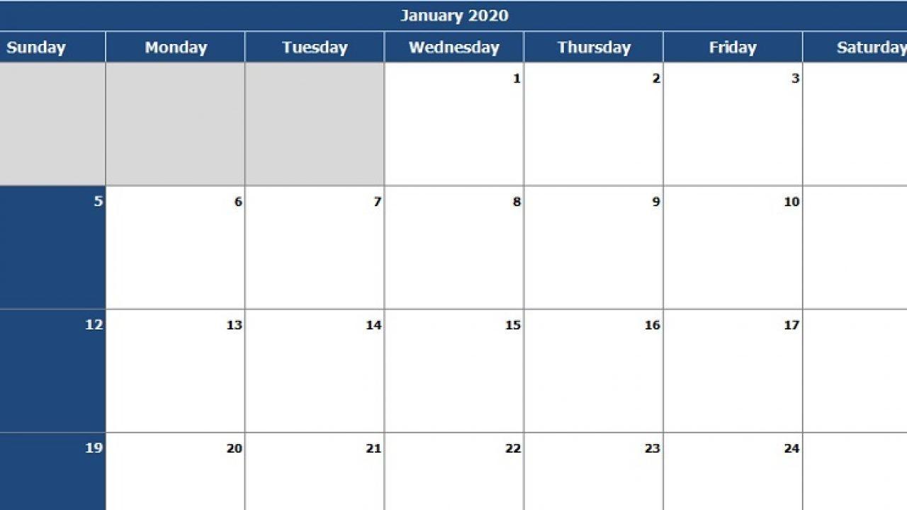 download 2020 monthly calendar (sun start) excel template
