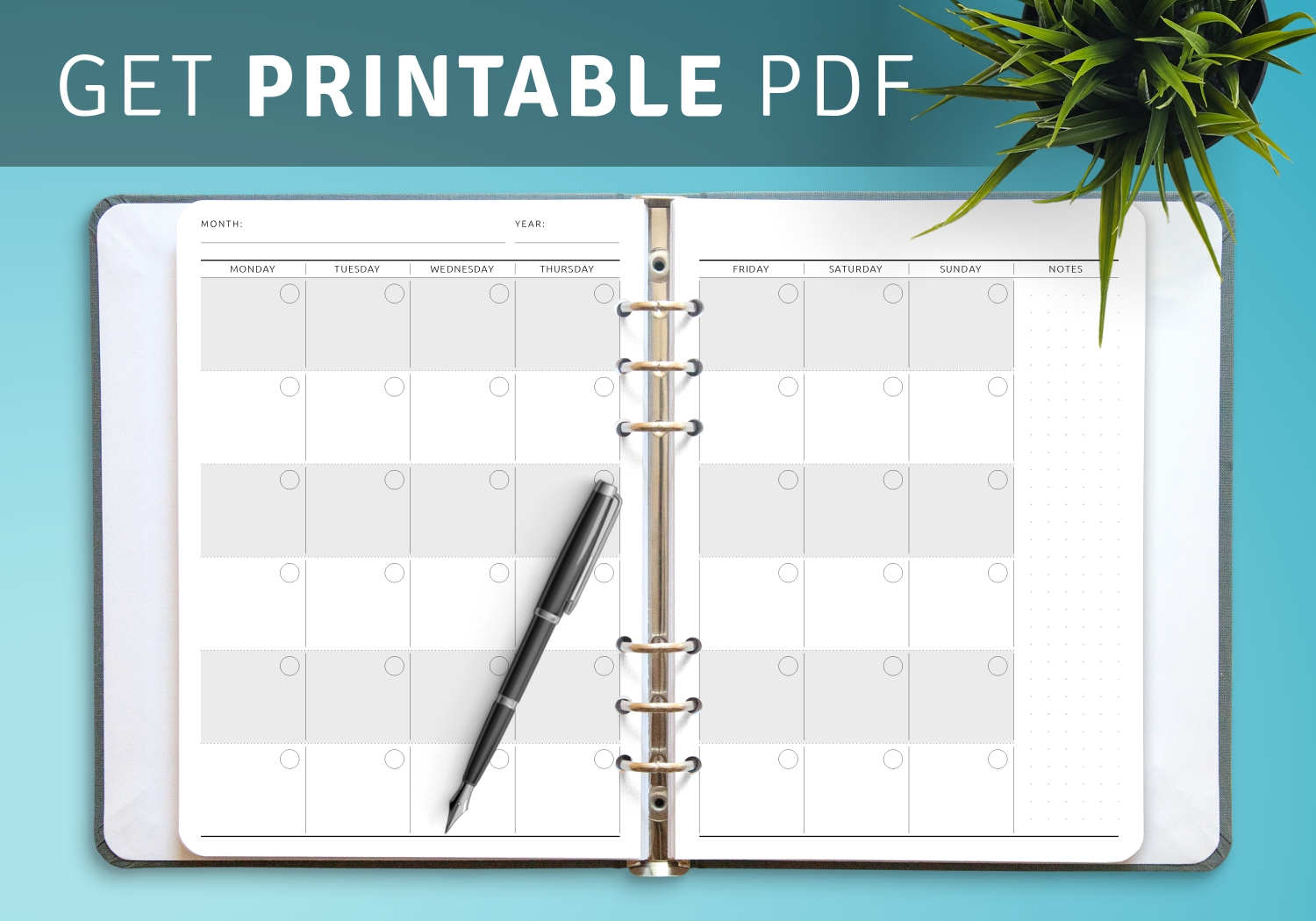 Download Printable Monthly Calendar Planner Undated