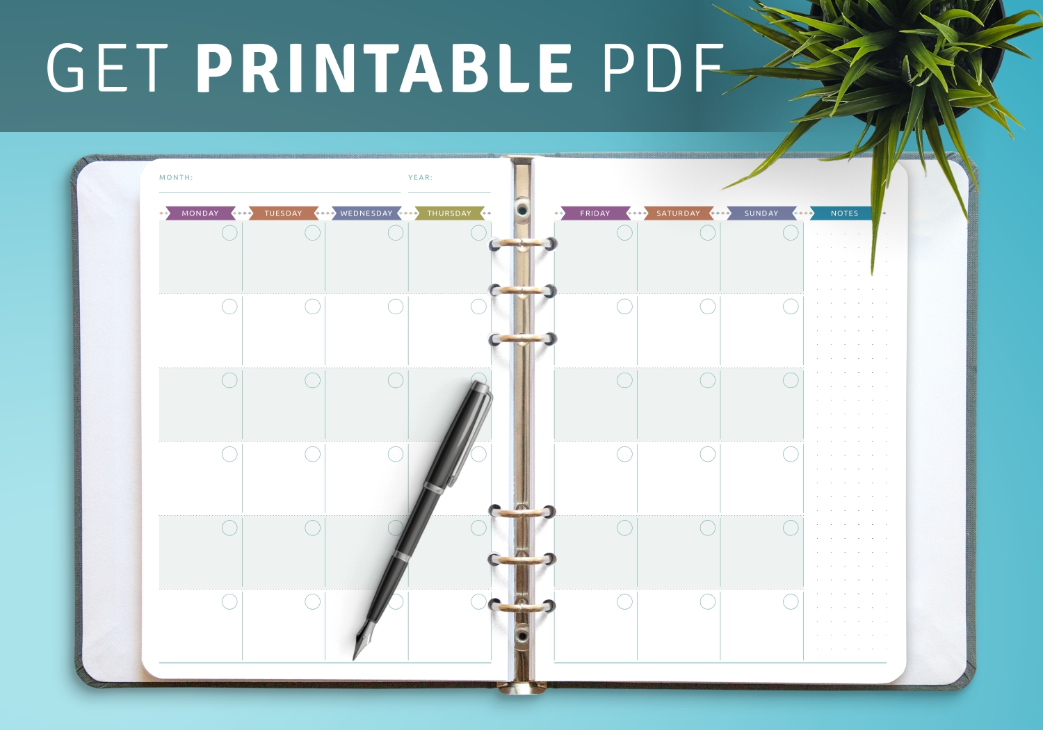 Download Printable Monthly Calendar Planner Undated Casual