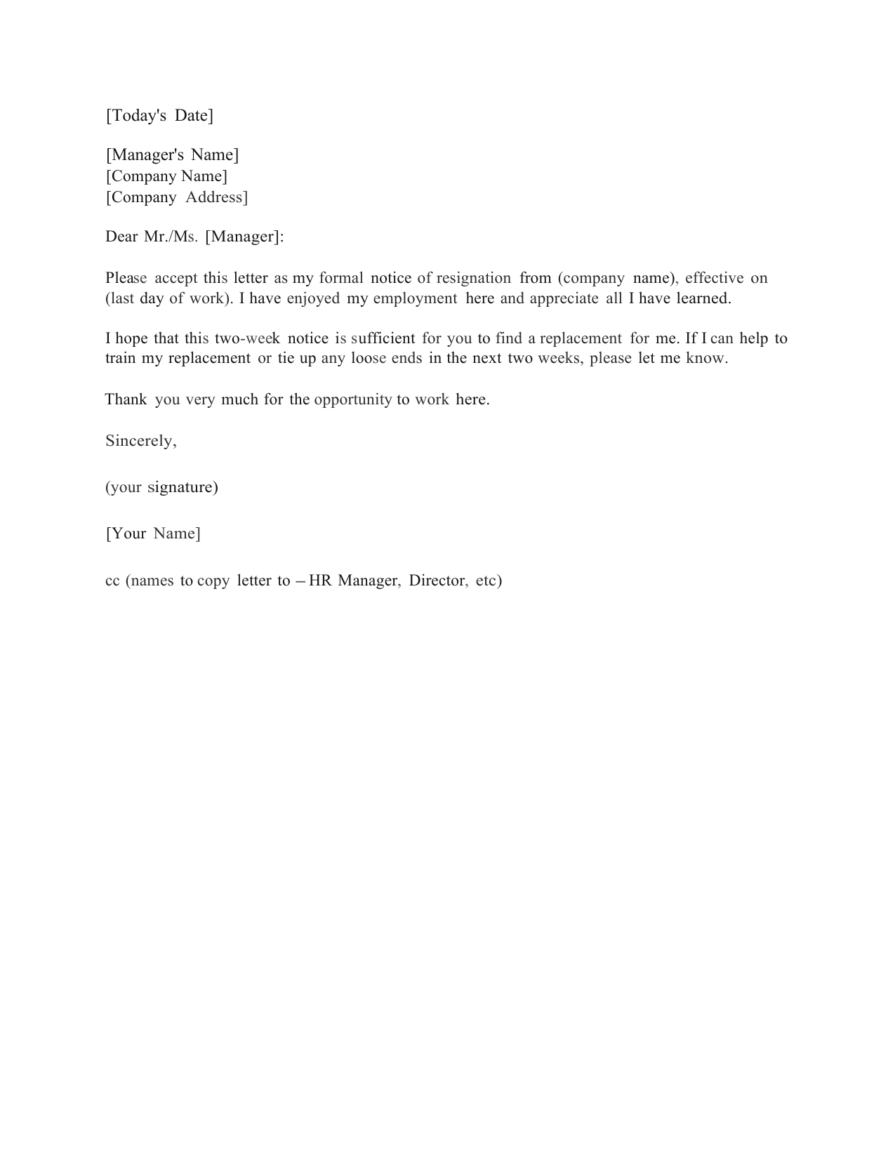 Download Standard Two (2) Weeks Notice Letter Template And