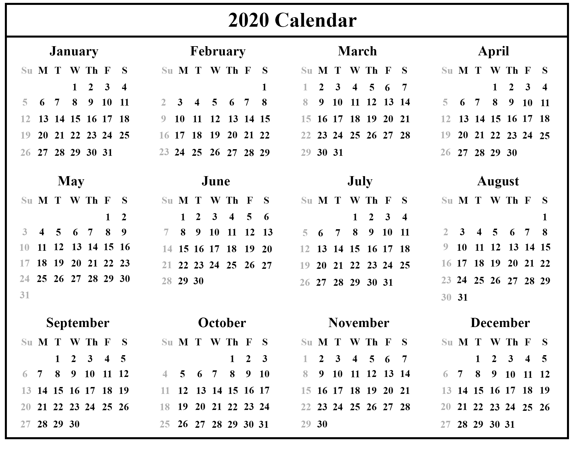 Download This Free 2020 Printable Calendar With A Simple