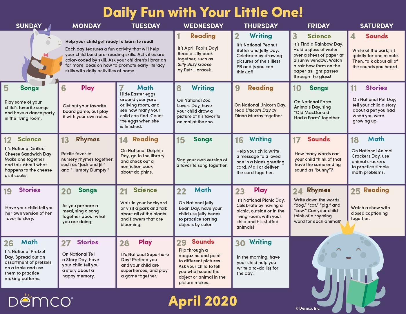 Early Literacy Activities Calendar: April 2020