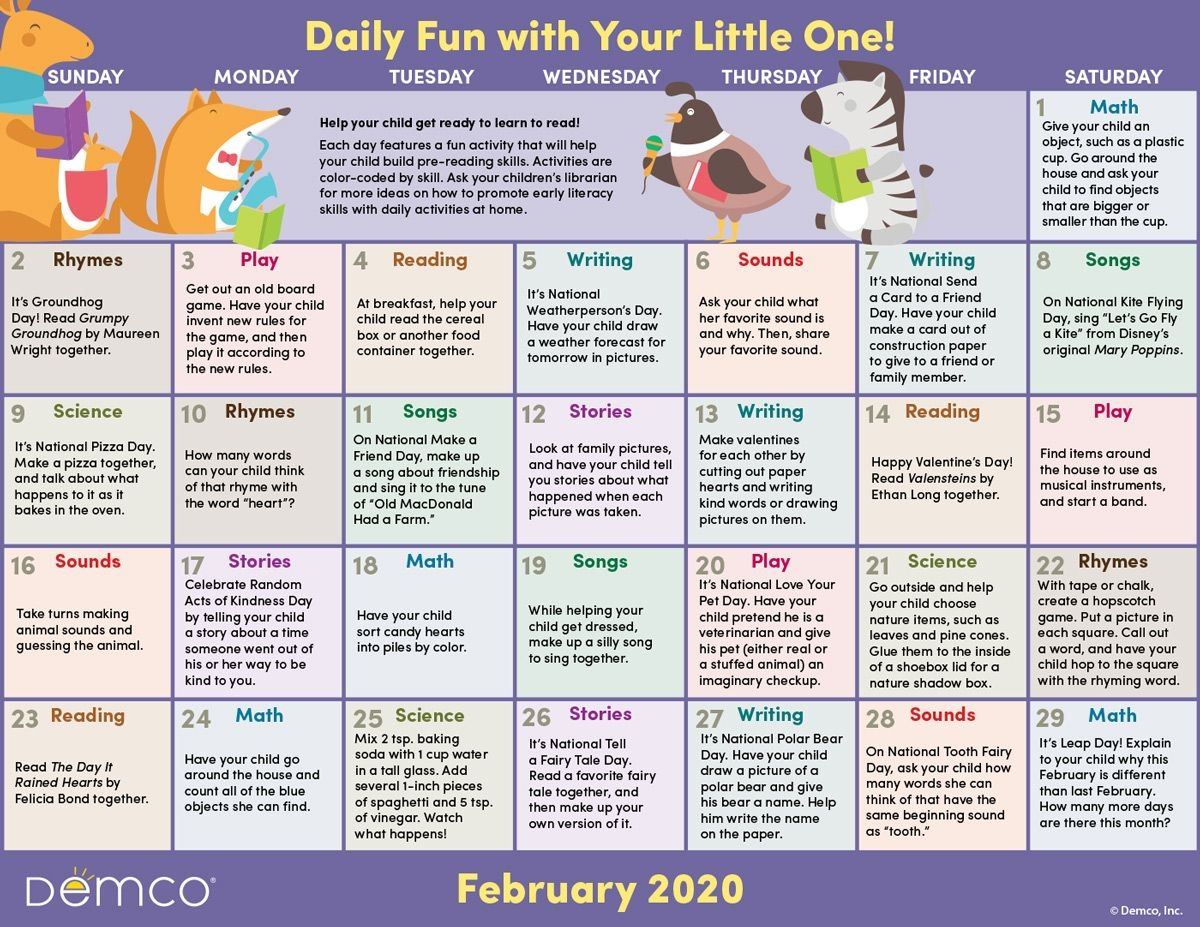 Early Literacy Activities Calendar: February 2020