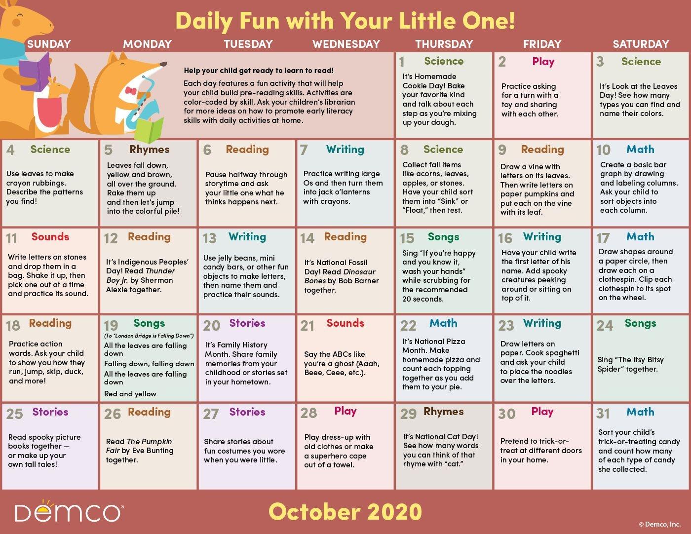 Early Literacy Activities — October 2020: Activities, Books