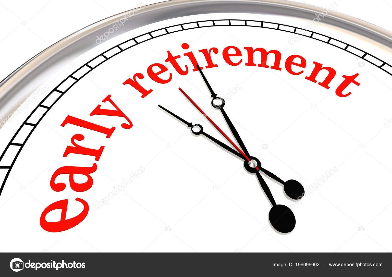 early retirement clock countdown words 3d render illustration 196096602
