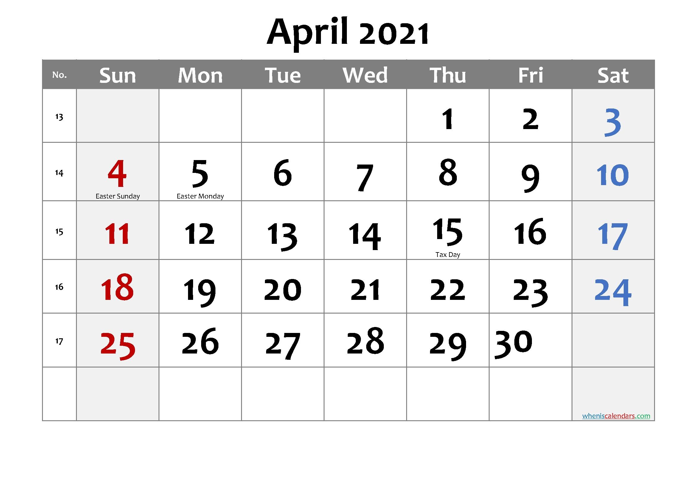 Editable April 2021 Calendar Template No Cd21m16 – Free