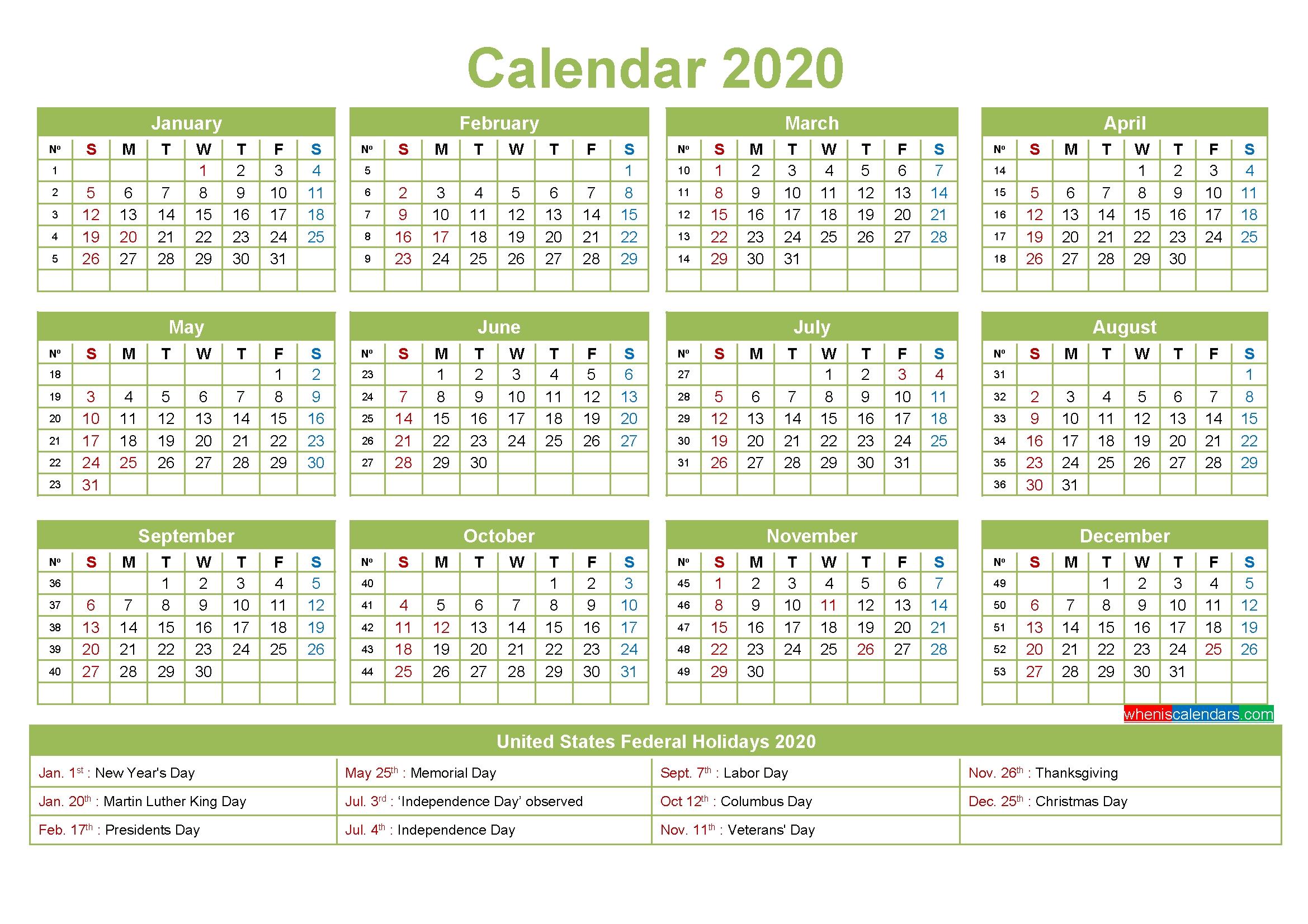 editable calendar template 2020 – template no ep20y3 – free