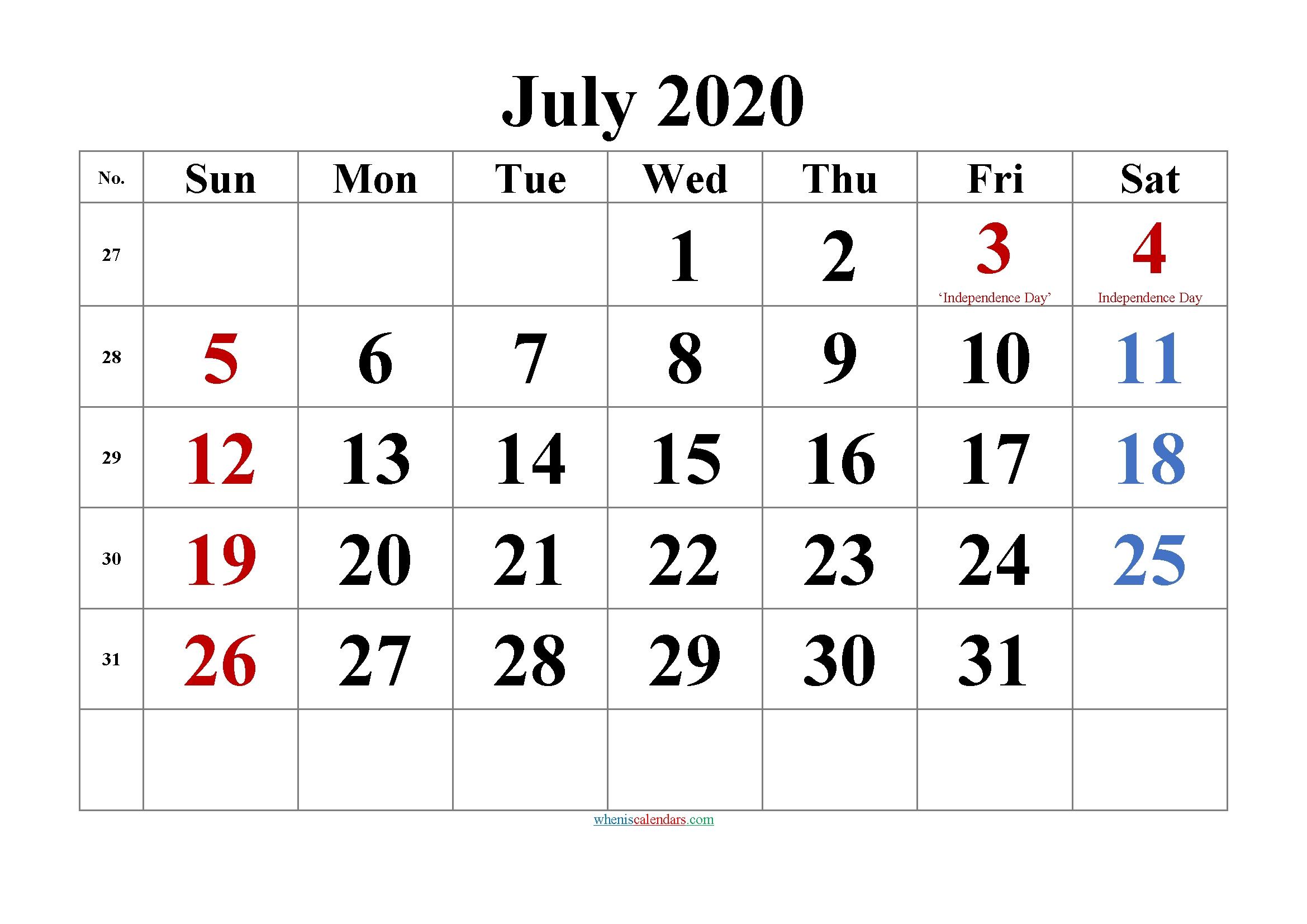 Editable July 2020 Calendar Template No Tr20m43 – Free