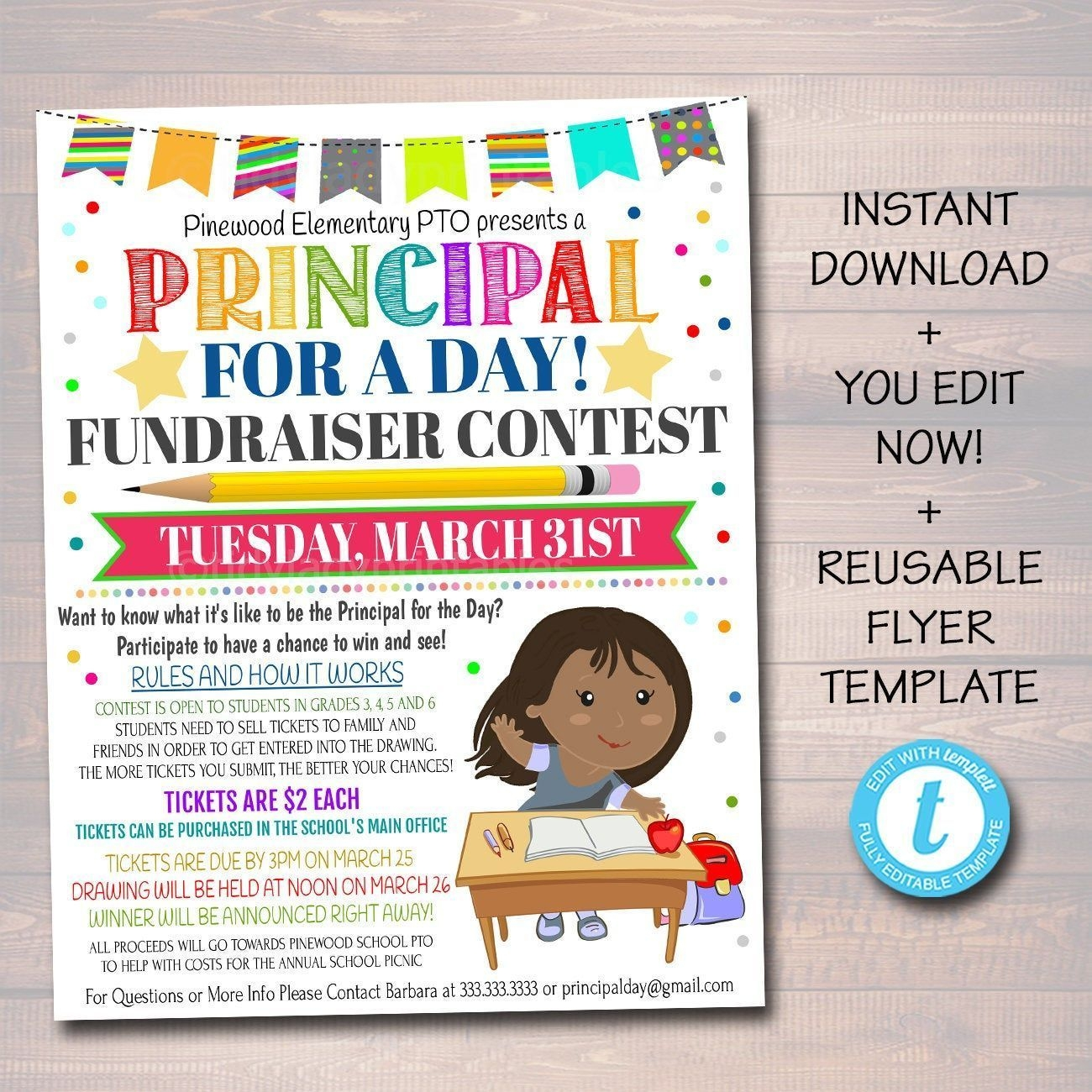 Editable Principal For A Day Contest Fundraiser Flyer