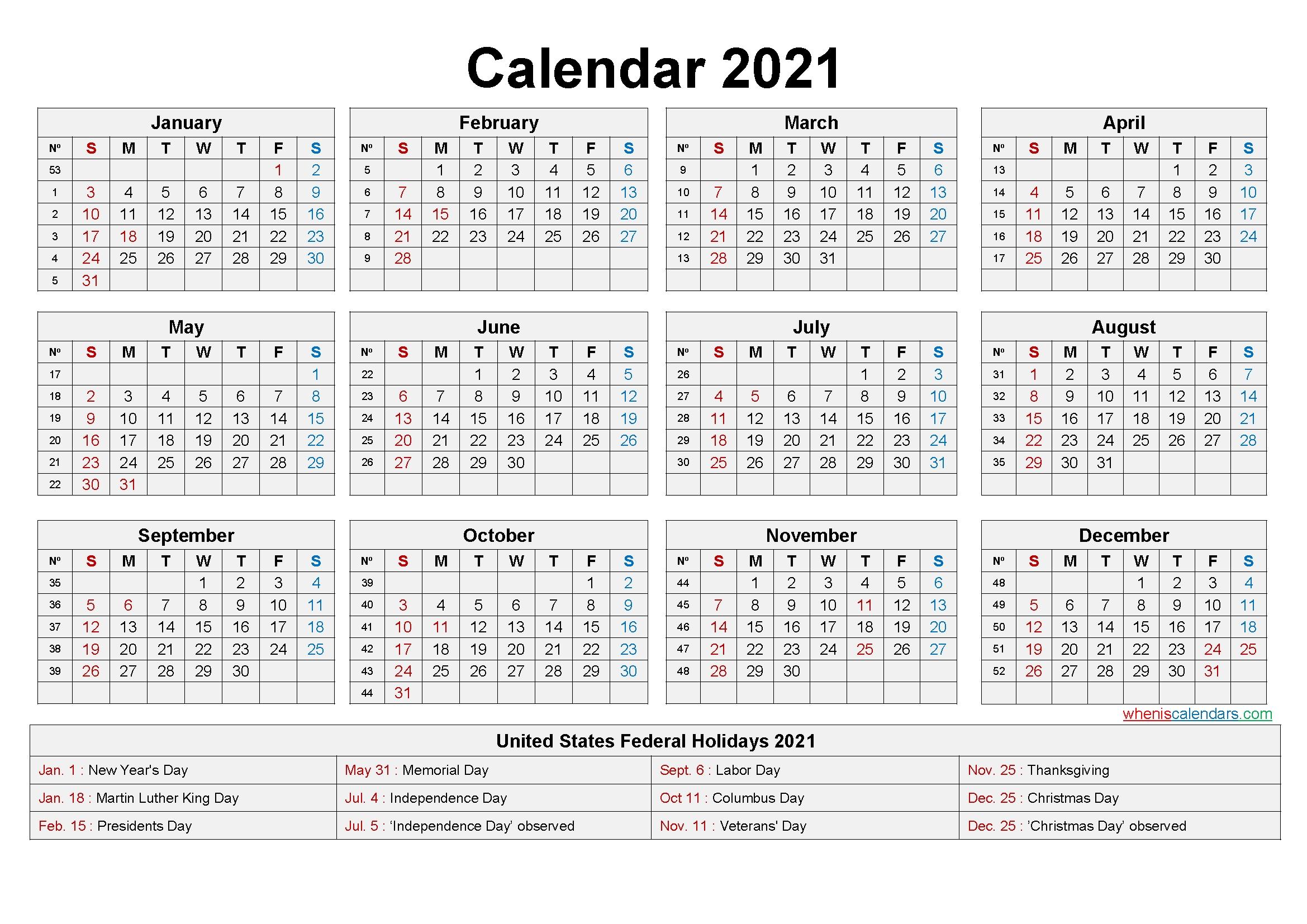 Editable Printable Calendar 2021 – Template No Ep21y20