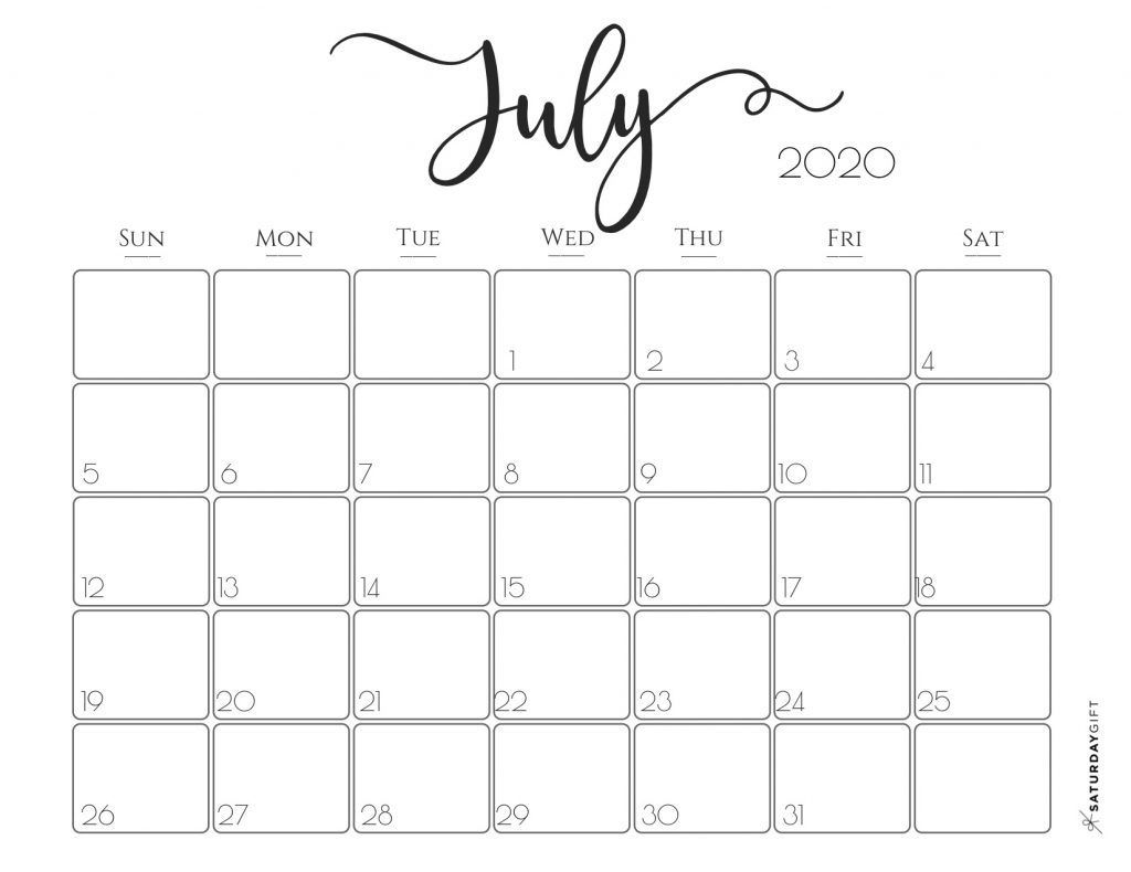 elegant 2020 calendar july free printables | pretty
