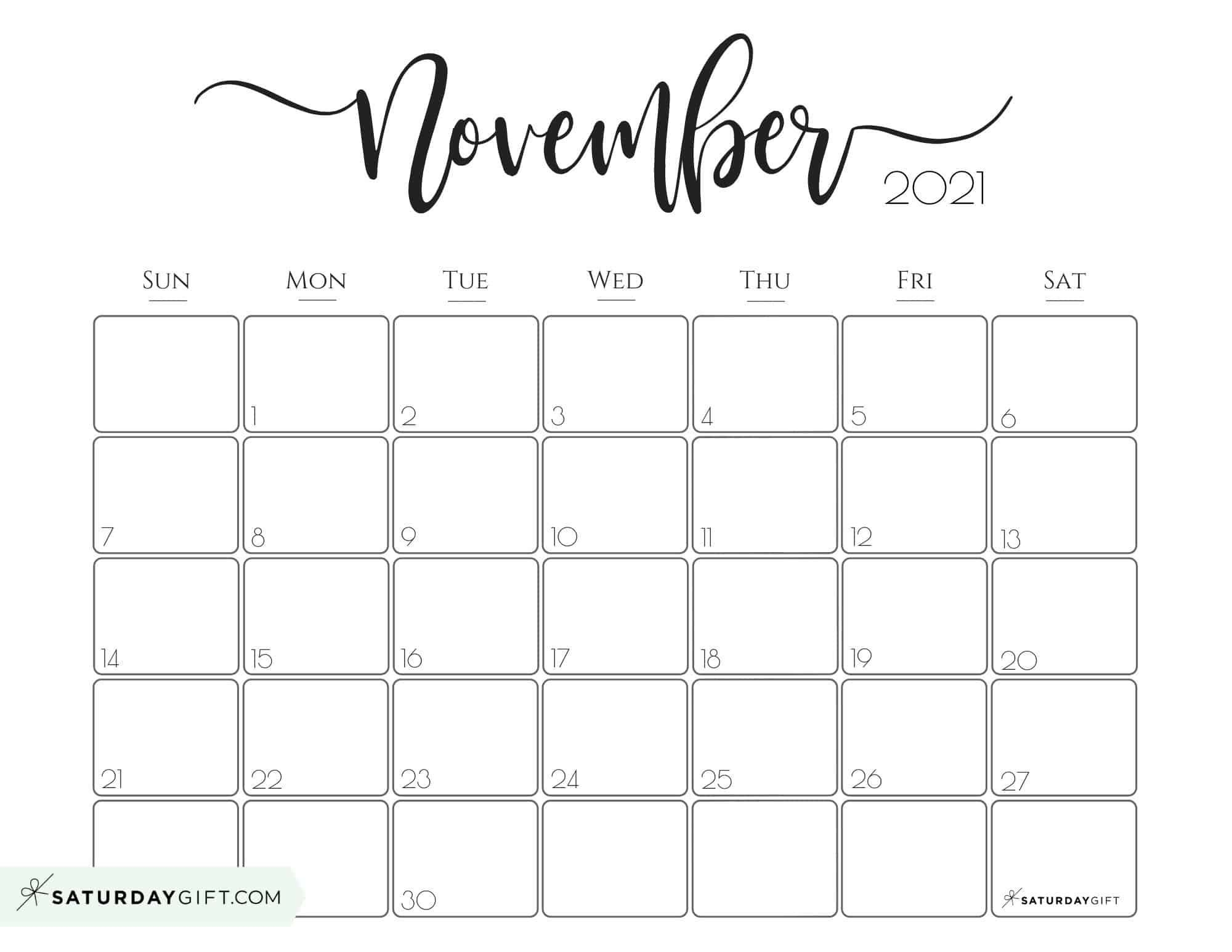 Elegant 2021 Calendar Pretty Printable Monthly Calendars