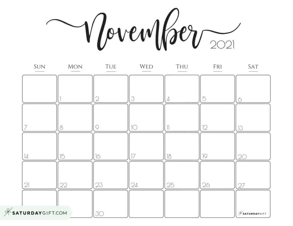 elegant 2021 calendarsaturdaygift pretty printable
