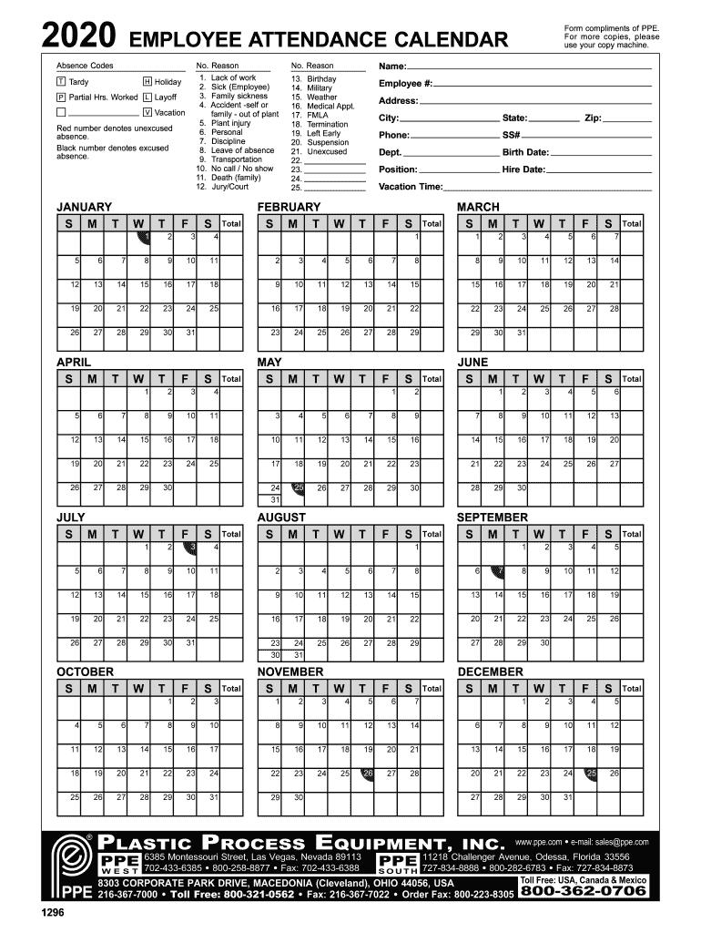Employee Attendance Calendar 2020 Fill Online, Printable