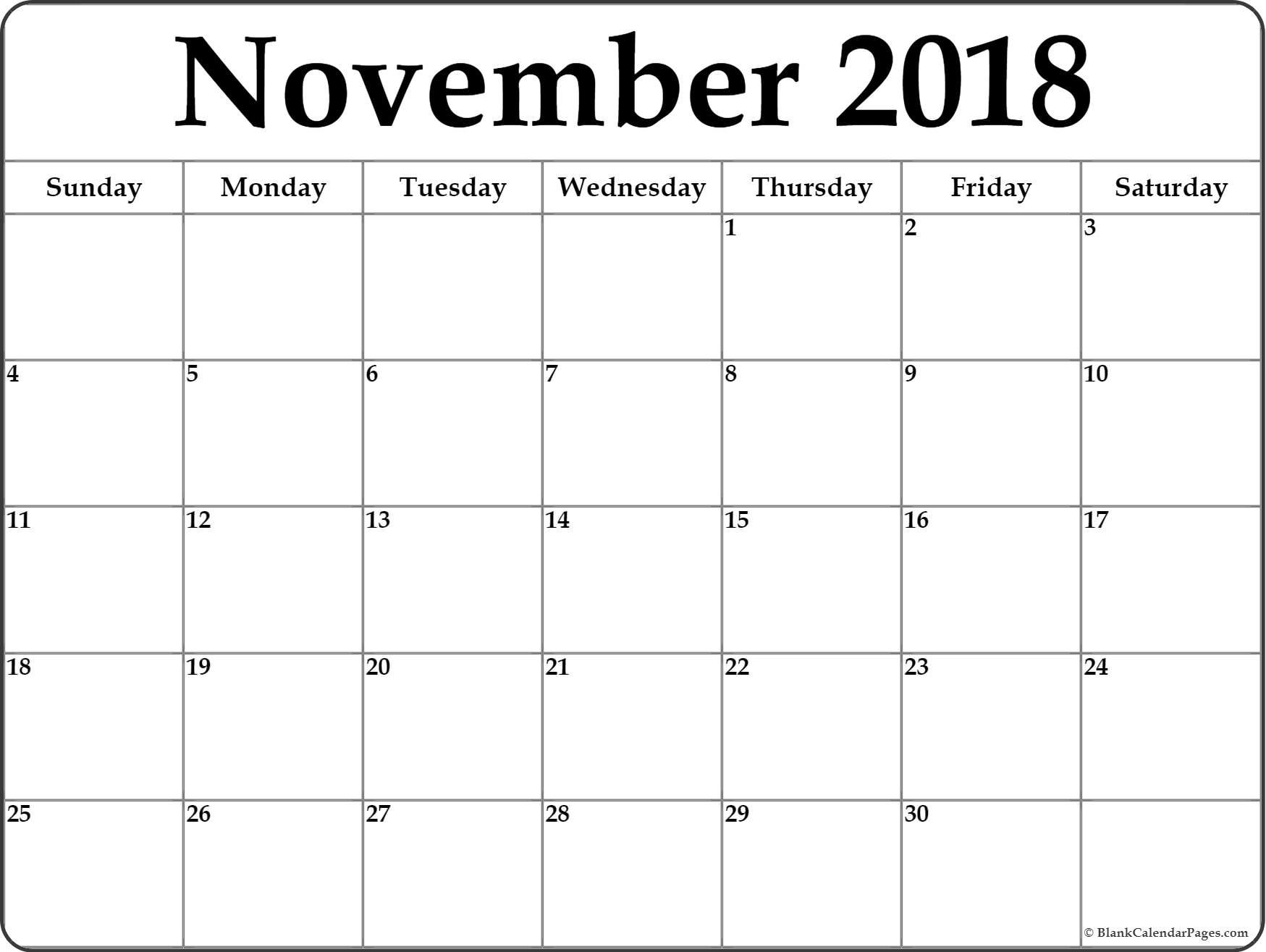 Enterprising Blank November Calendar Printable | Tyrone Blog