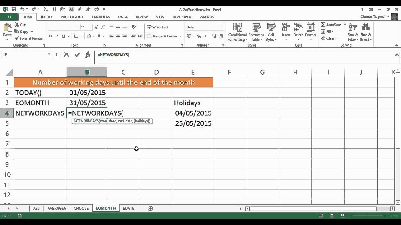 excel: calculate the number of working days left this month