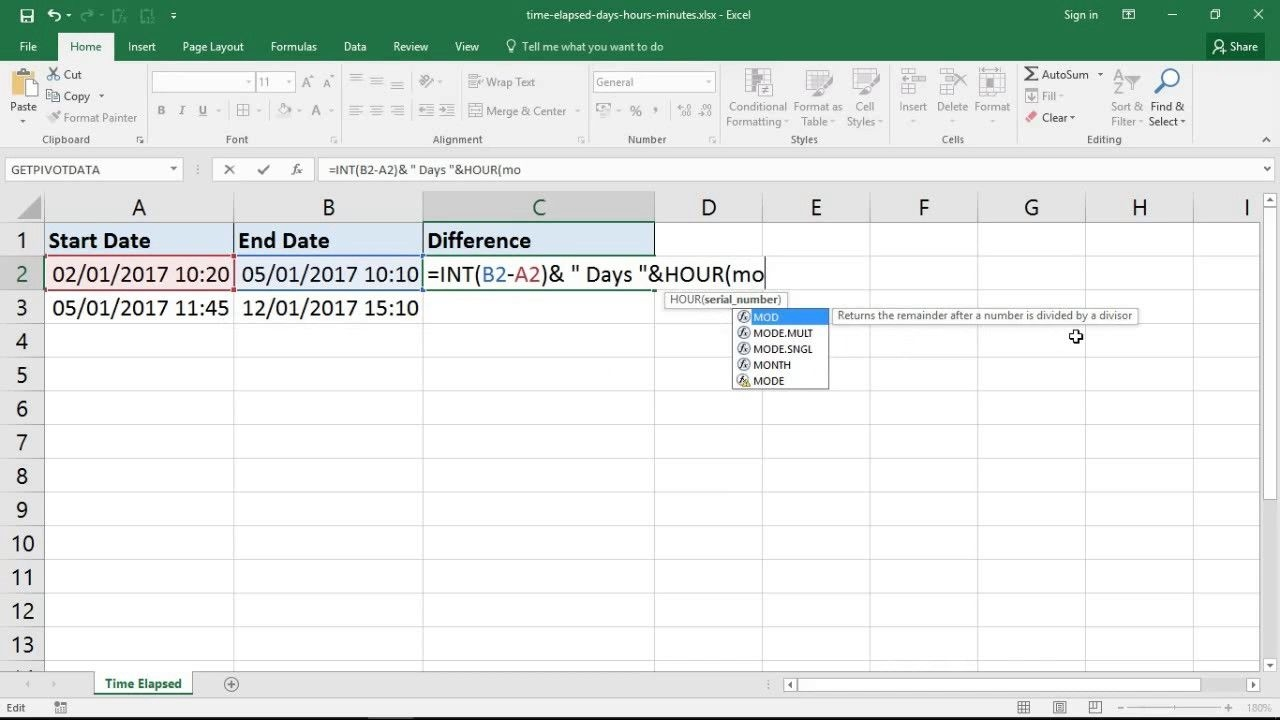 excel formula for time elapsed in days, hours and minutes