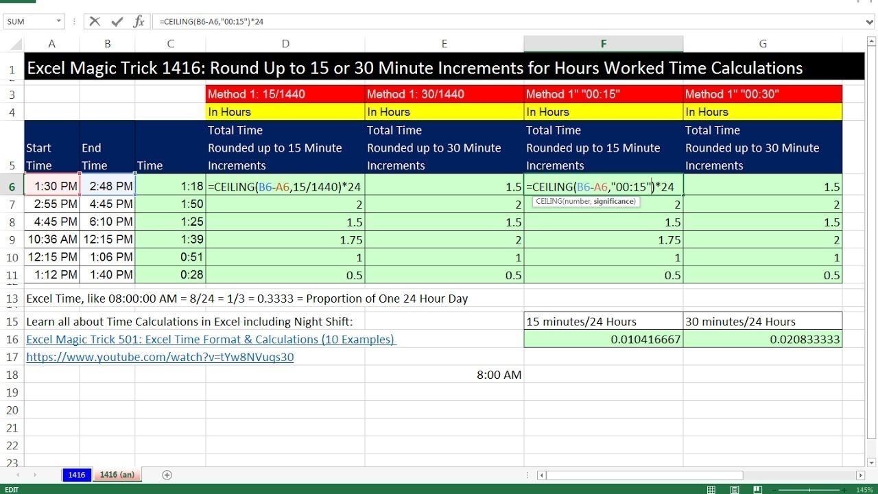 Excel Magic Trick 1416: Round Up To 15 Or 30 Minute Increments For Hours Worked Time Calculations