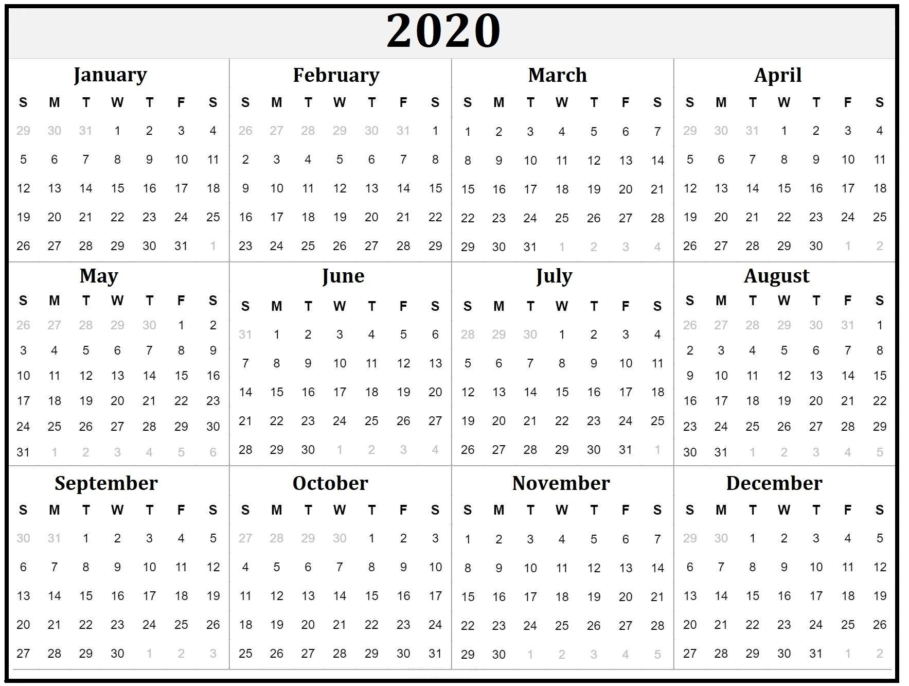 extraordinary calendars for the whole year in 2020