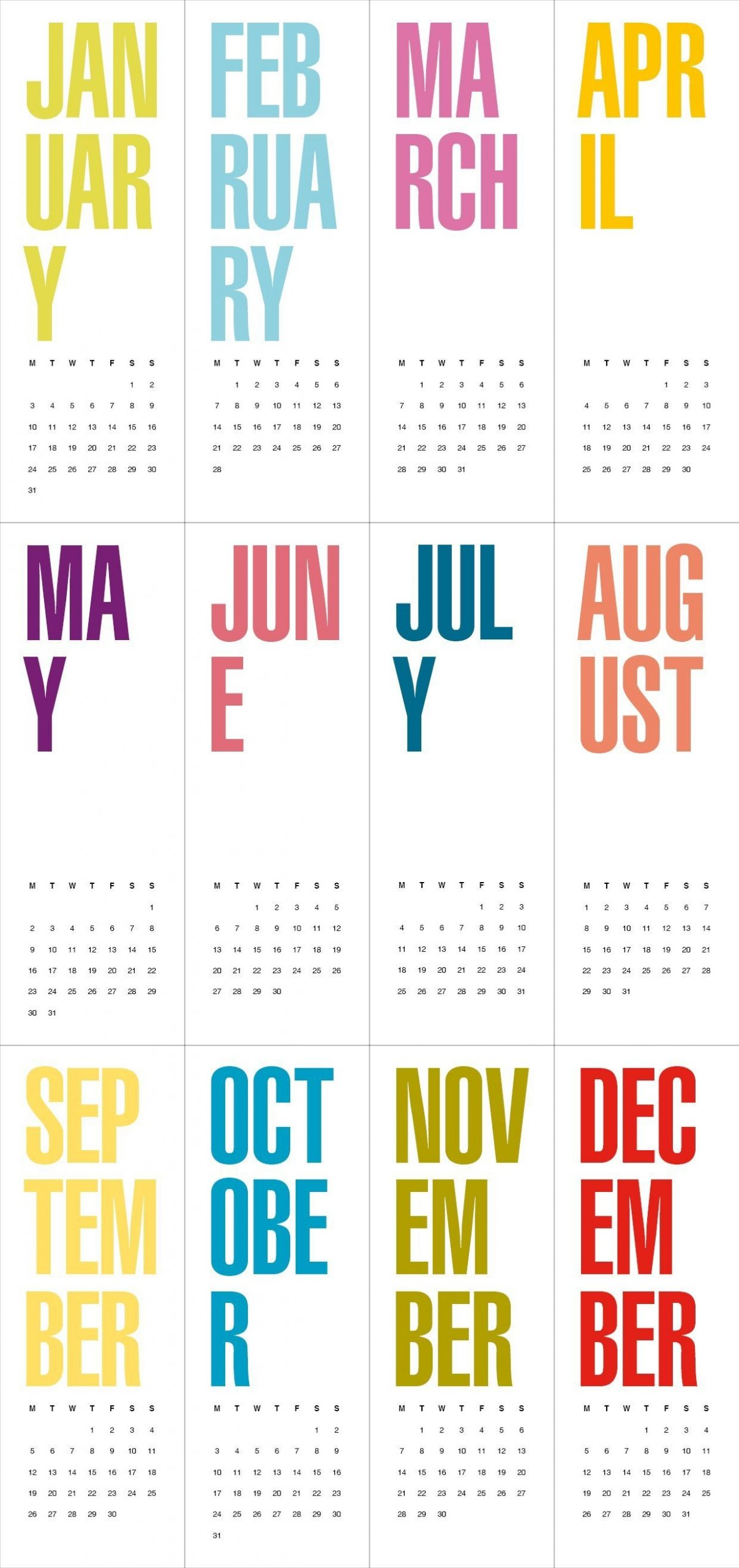 Features Fab & Free | Atypical Type A | Print Calendar