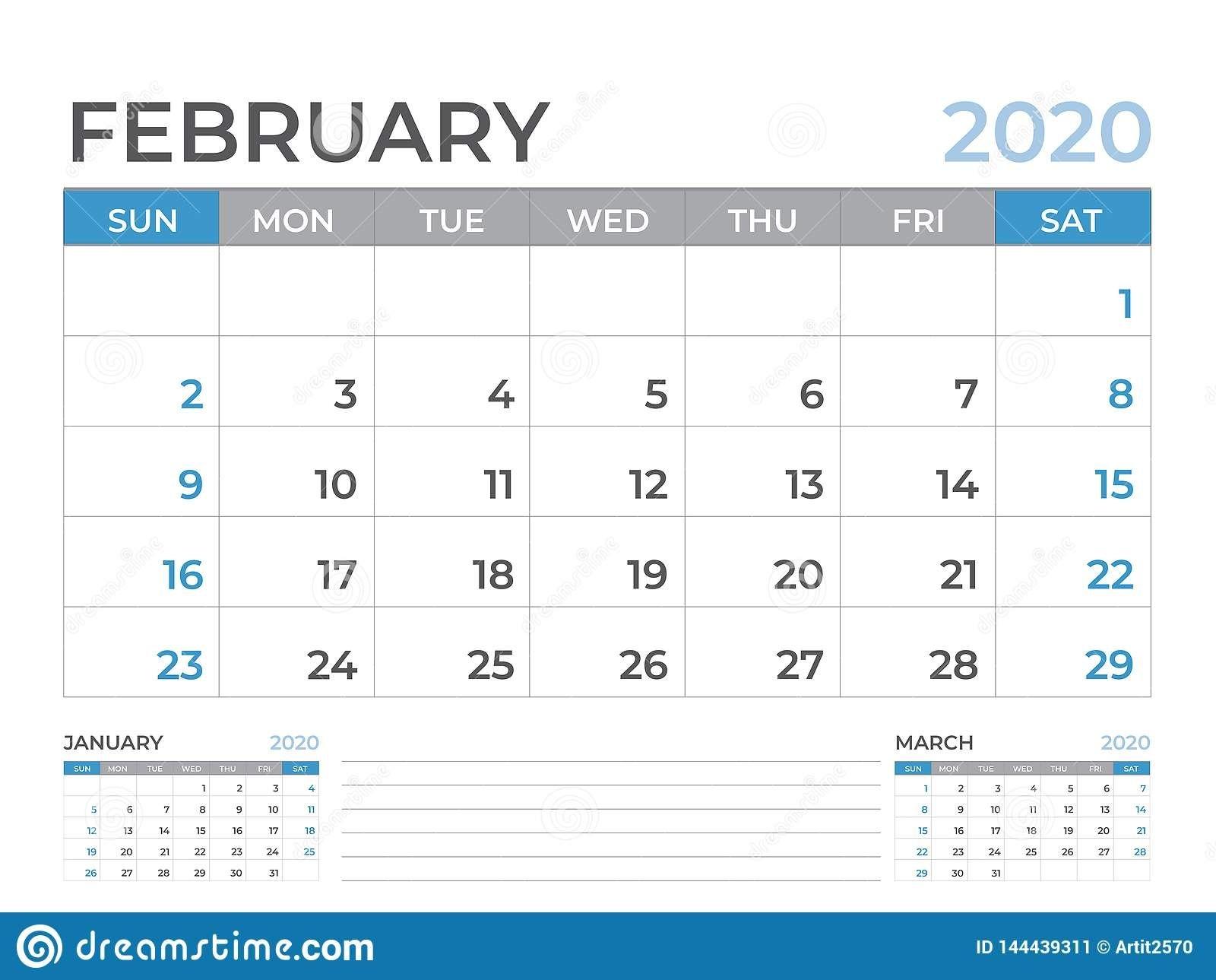 February 2020 Calendar Template, Desk Calendar Layout Size 8