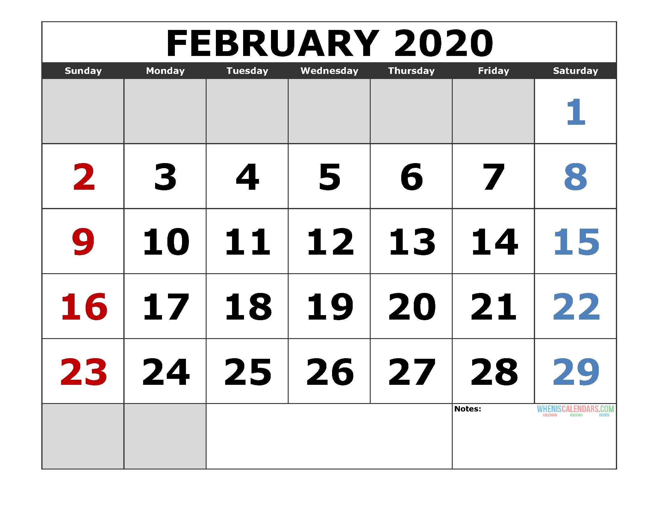February 2020 Printable Calendar Template Excel, Pdf, Image