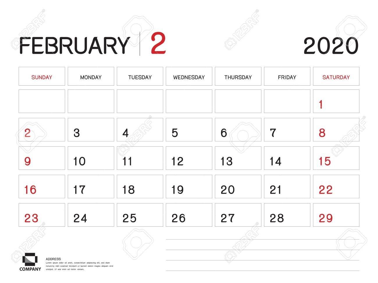 february 2020 year template, calendar 2020 vector, desk calendar