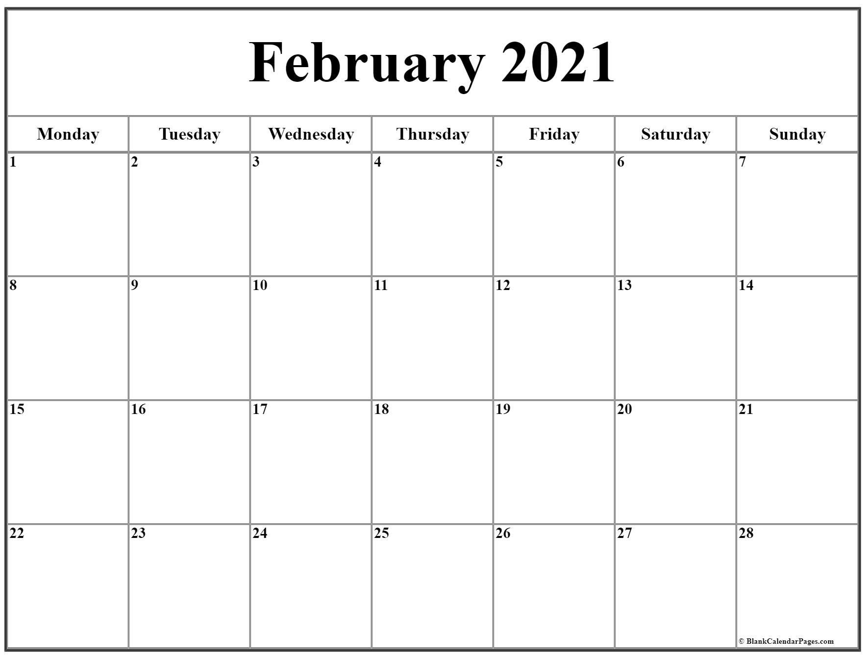february 2021 monday calendar | monday to sunday