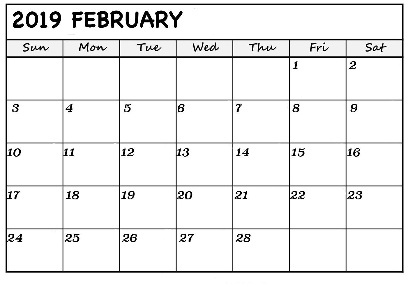 February Blank Calendar 2019 | Monthly Calendar Template