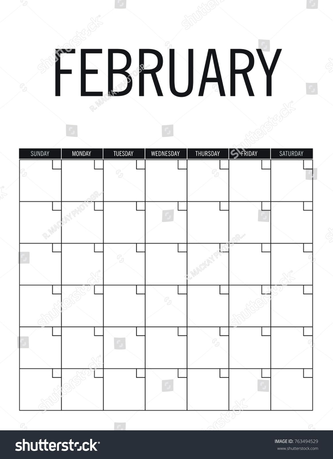 February Blank Calendar Page No Dates Stock Vector (royalty