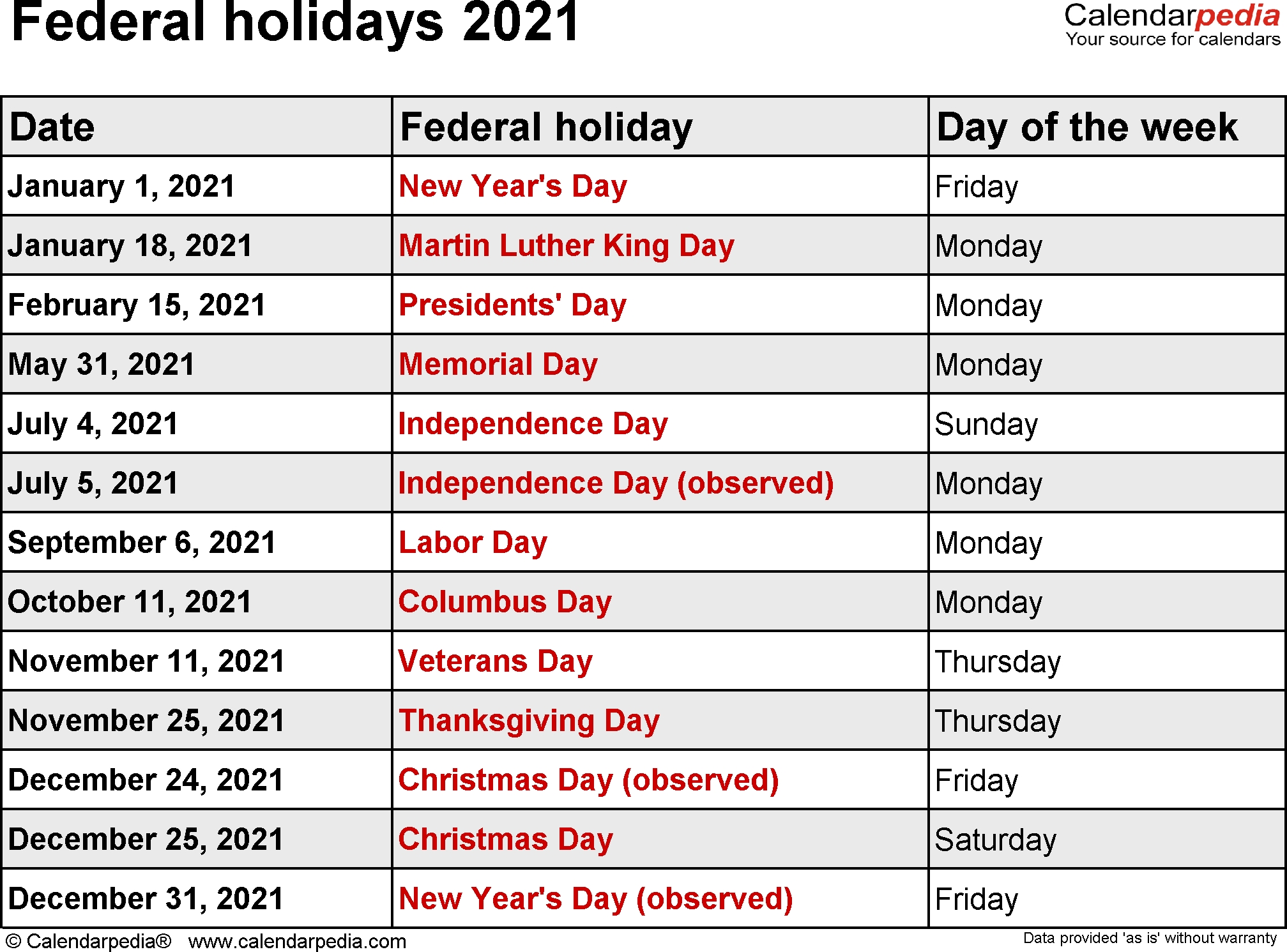 federal holidays 2021
