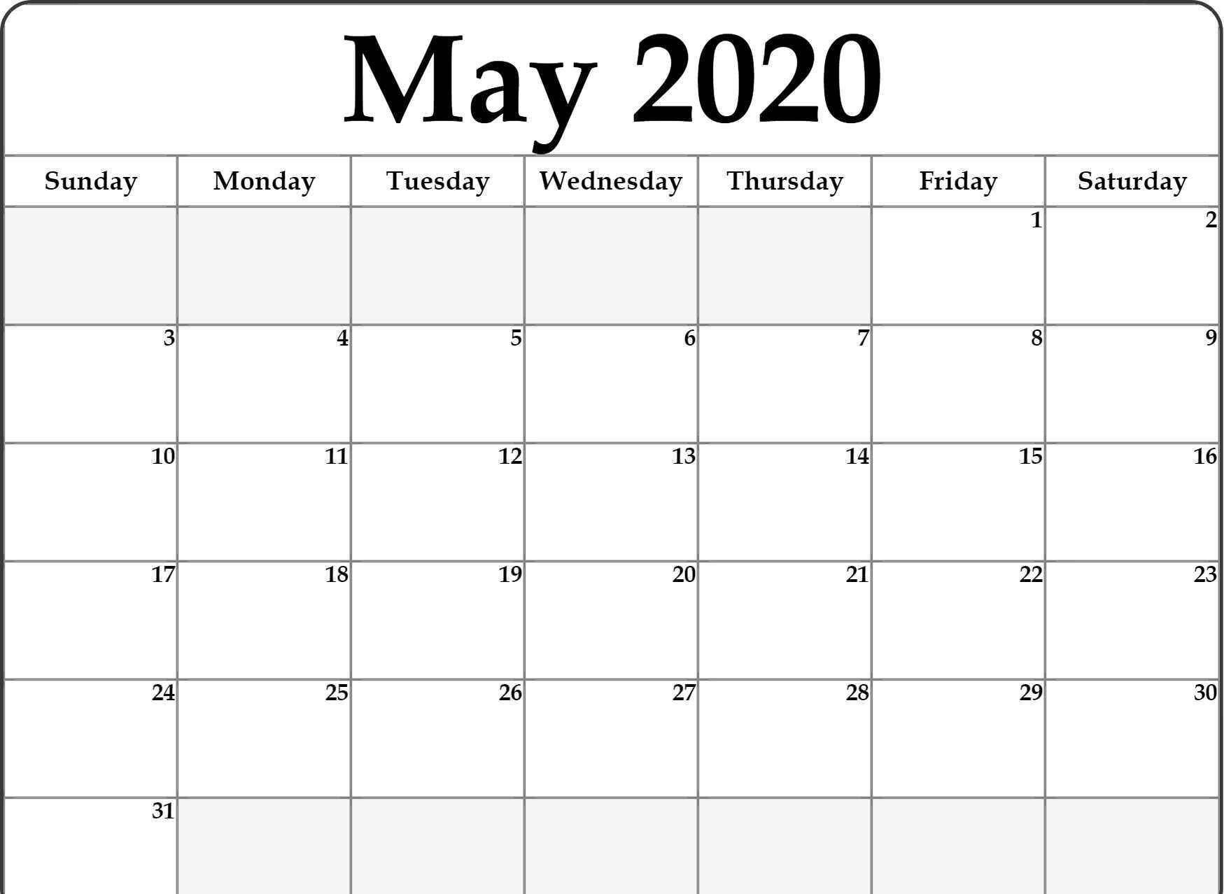 Fillable May Calendar 2020 In 2020 | Monthly Calendar