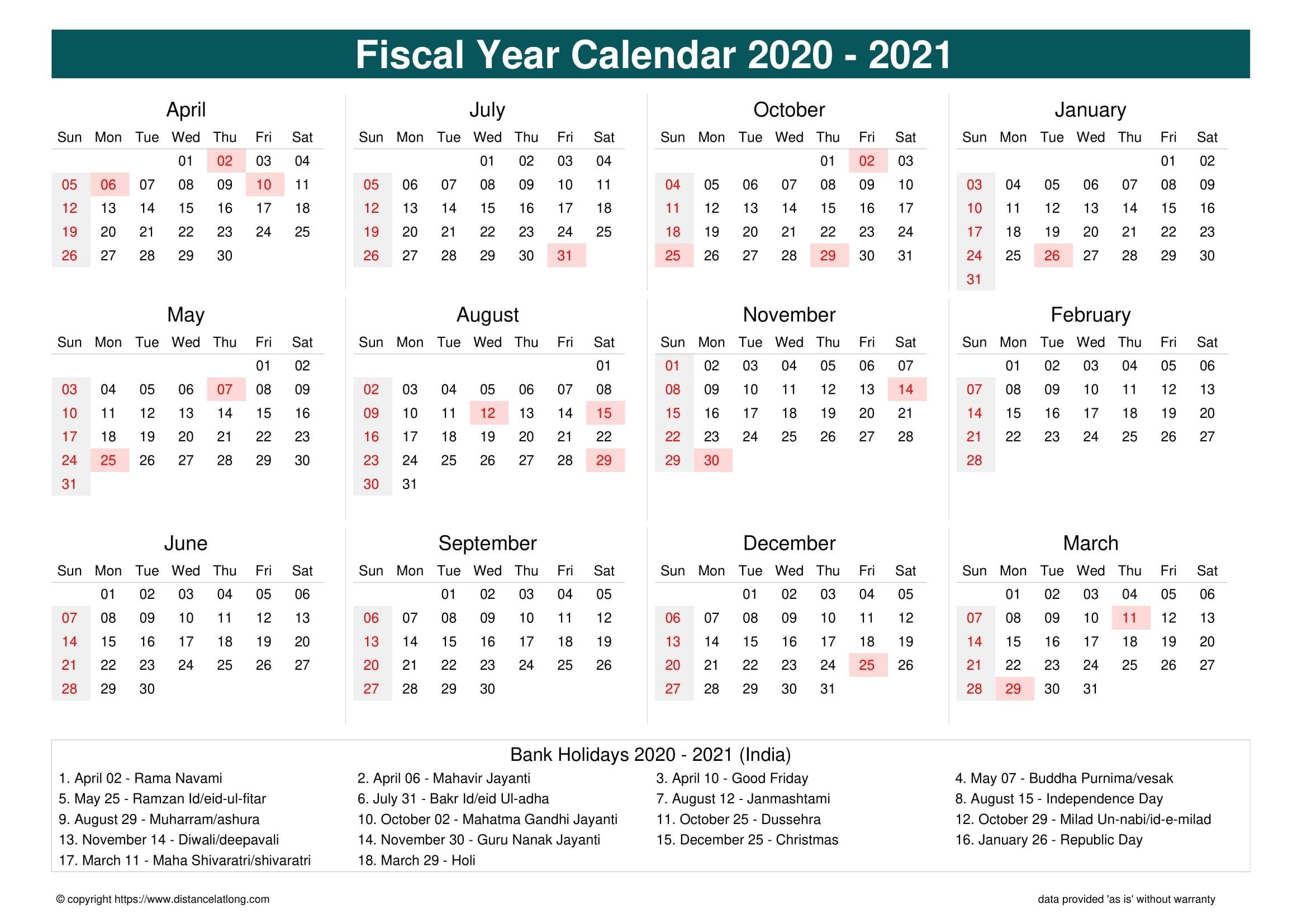 fiscal year 2020 2021 calendar templates, free printable
