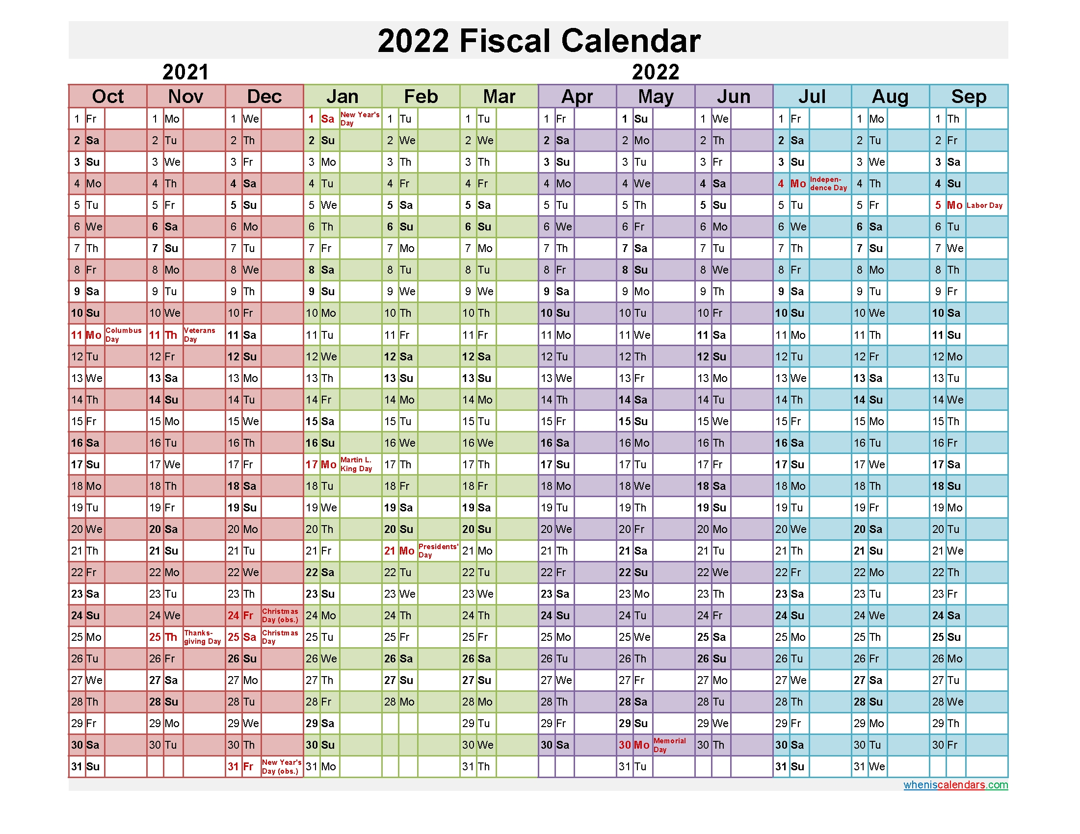 fiscal year 2022 calendar – template no fiscal22y21 – free