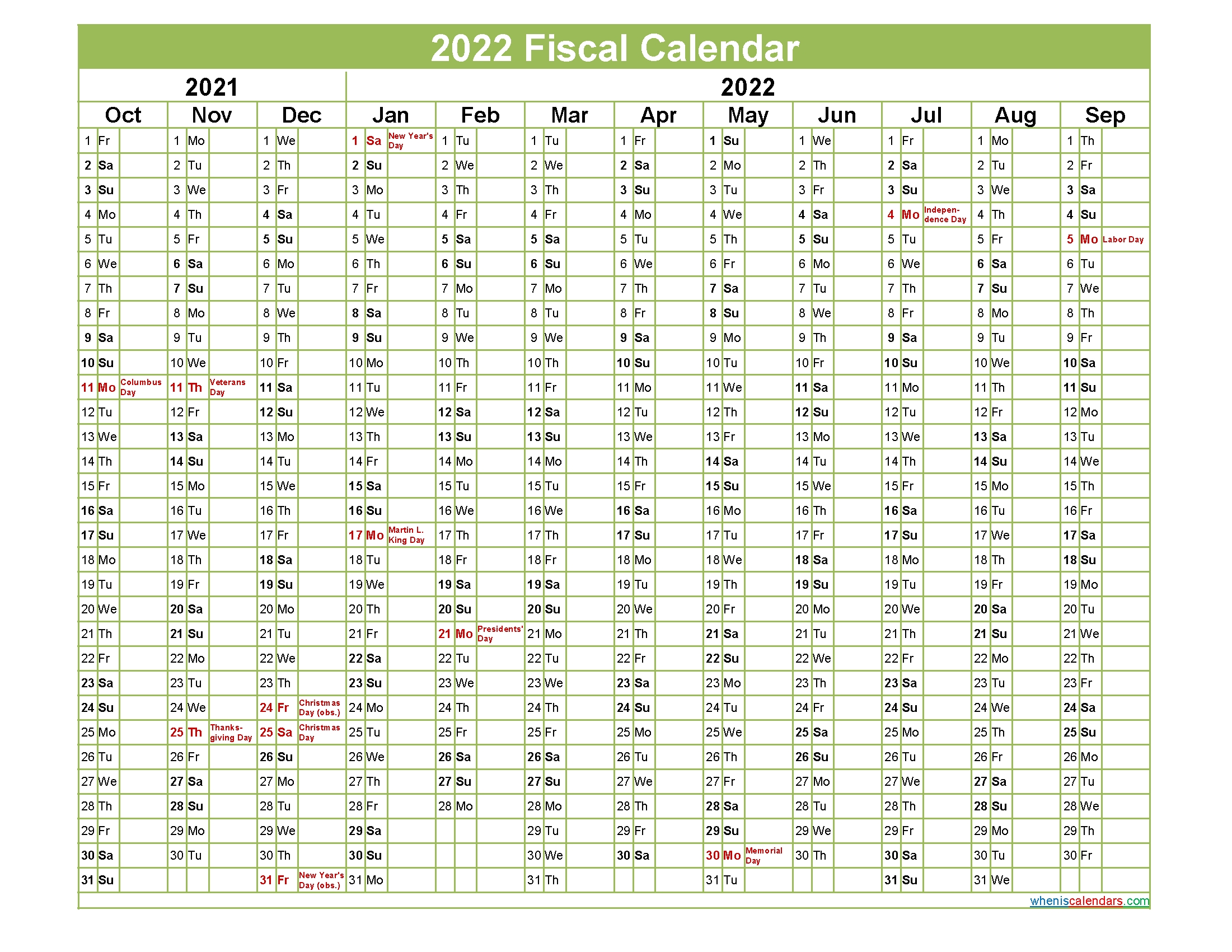 fiscal year 2022 calendar – template no fiscal22y37 – free