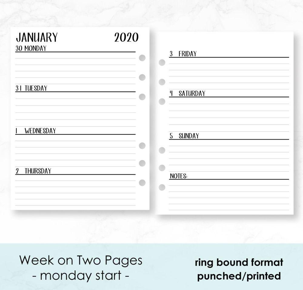 fits louis vuitton mm agenda: 2020 calendar insert: weekly