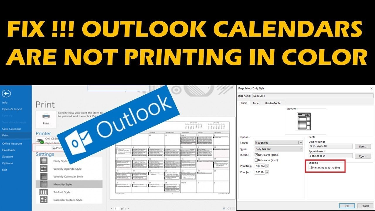 fix !!! outlook calendars are not printing in color