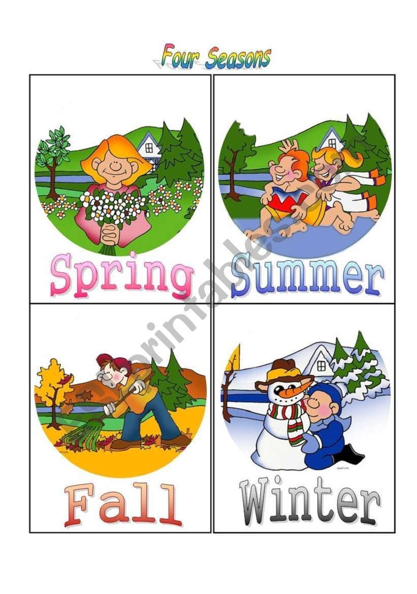 four seasons flash cards esl worksheetblubird