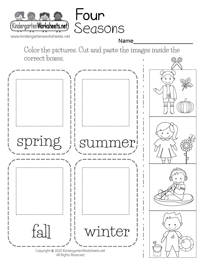Four Seasons Worksheet For Kindergarten Free Printable