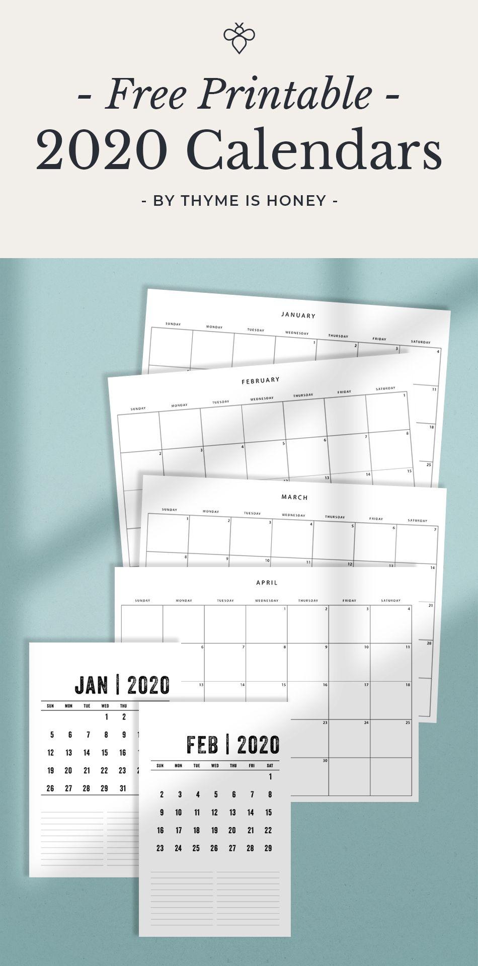 Free 2020 Calendars Thyme Is Honey