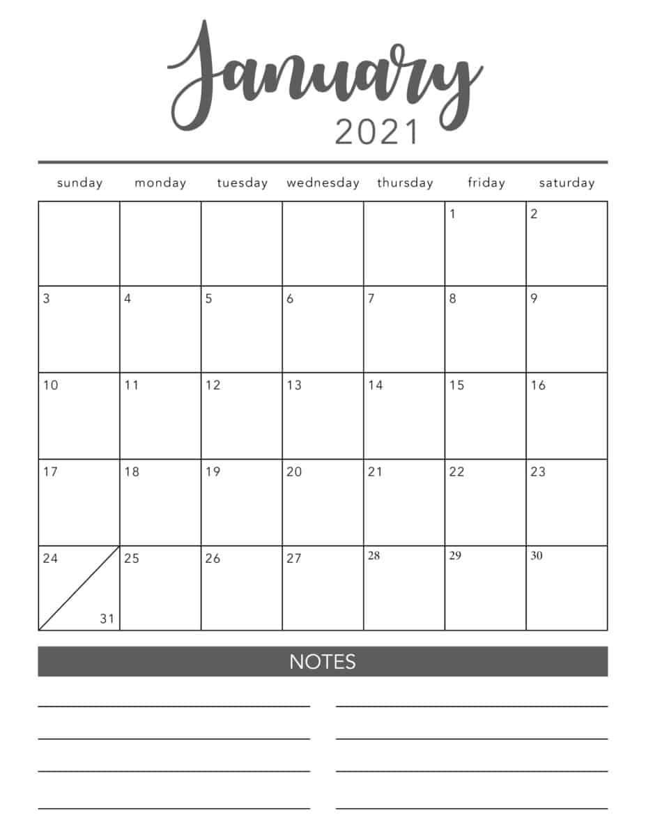 Free 2021 Printable Calendar Template (2 Colors!) I Heart