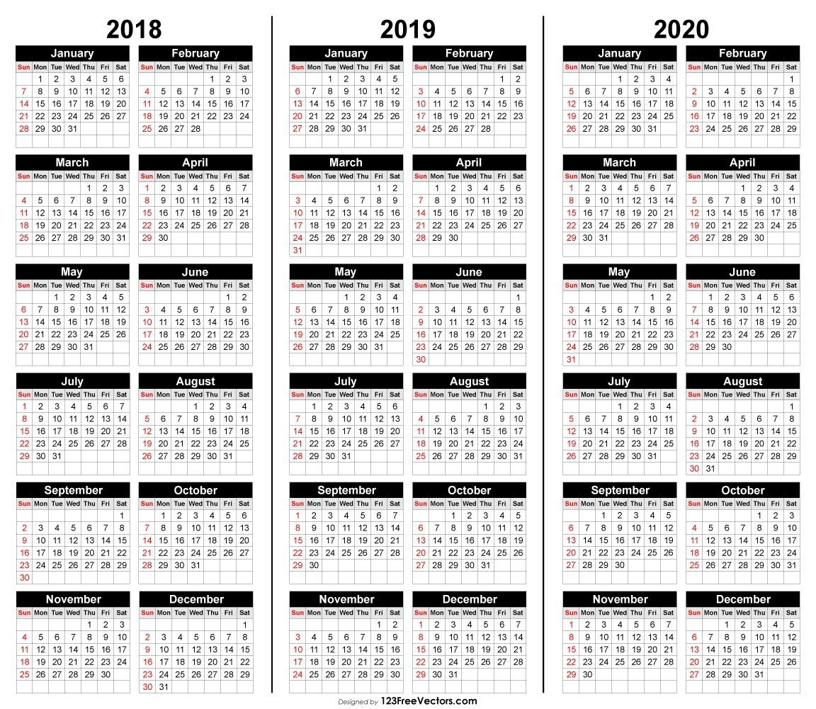 Free 3 Year Calendar 2018 2019 2020 | Calendar Printables
