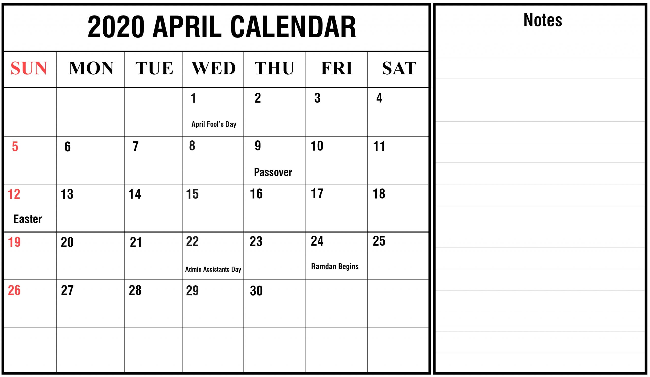 Free April Calendar 2020 Printable Editable Template