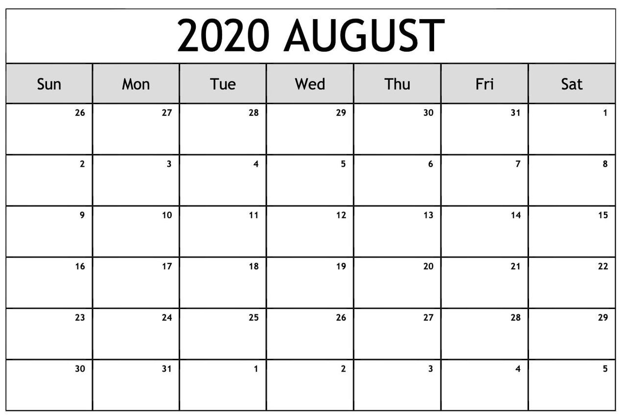 Free August 2020 Printable Calendar Template (download Now)