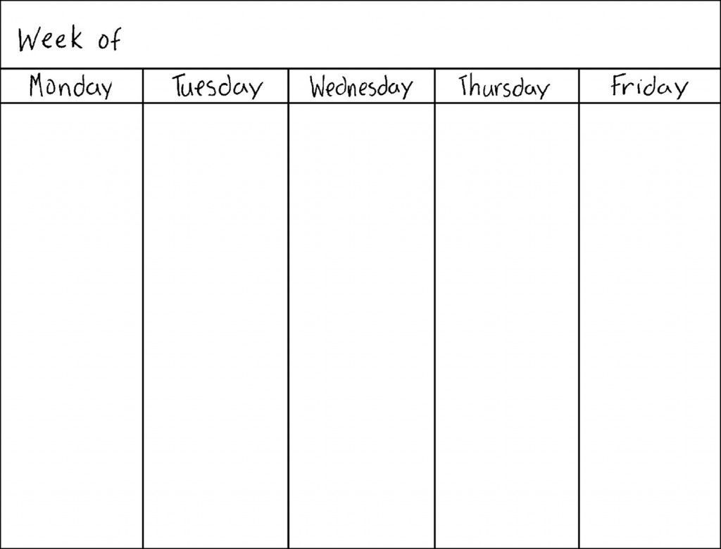 Free Blank 5 Day Calendar | Template Calendar Printable Make